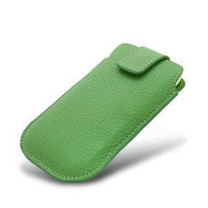 Noir Luxe Green Leather Pouch Case for iPhone 4  accessories