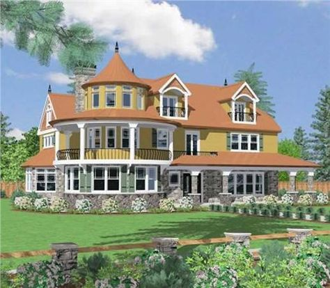 Country Victorian House Plan 3 Bedrms 2 5 Baths 5293 Sq Ft 153 1577 Victorian House Plans Country House Plans Turret House