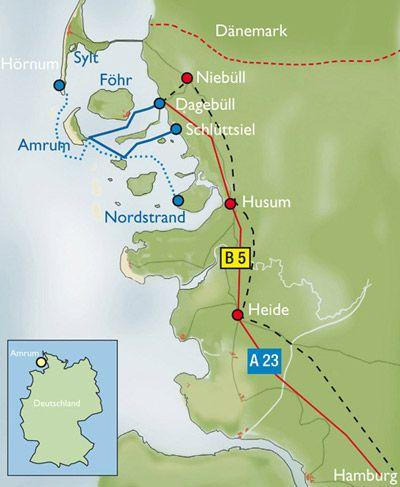 Eine Anfahrtskarte der Inselwelt Nordfriesland.