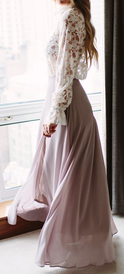 Flowy skirt + lace top