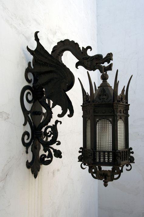 iron dragon sconces