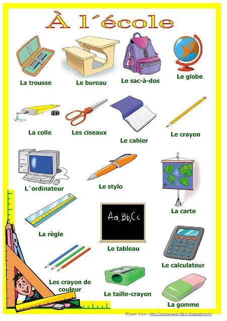 Vocabulaire à l'école - apprendre le français