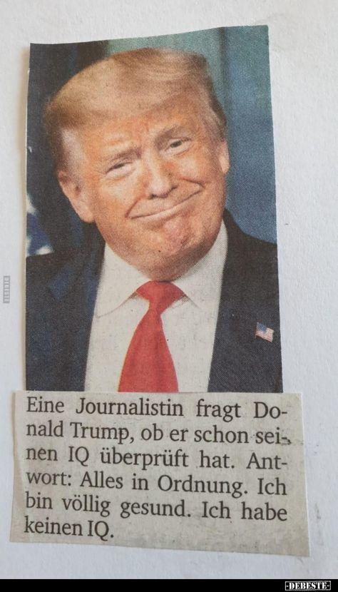 Eine Journalistin fragt Donald Trump, ob er schon seinen IQ..   Lustige Bilder, Sprüche, Witze, echt lustig