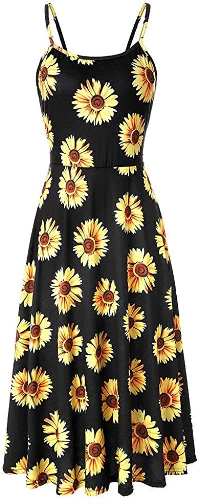 Women Sunflower Printed Sleeveless Spaghetti Strap Casual Beach Swing Midi Dress