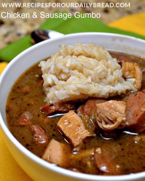 Chicken & Sausage Gumbo recipe http://recipesforourdailybread.com/2013/12/29/chicken-sausage-gumbo/ #soup #gumbo #New Orleans