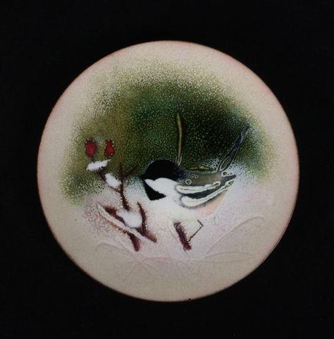Norman Brumm Snowy Winter Berry Chickadees Enamel by