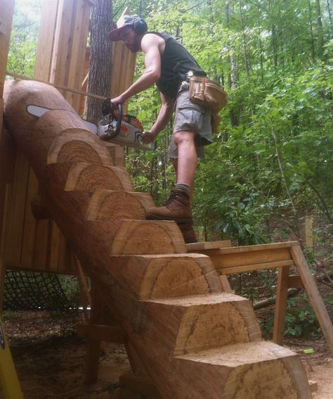 Outdoor Projects, Wood Projects, Outdoor Decor, Staircase Outdoor, Cool Tree Houses, Tree House Designs, Log Furniture, Plywood Furniture, Furniture Design