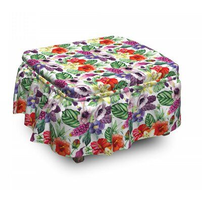 East Urban Home Ambesonne Watercolor Ottoman Cover, Calla Chinese Hibiscus, 2 Piece Slipcover Set With Ruffle Skirt For Square Round Cube Footstool De