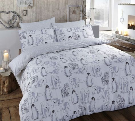 Grey Duvet Covers Christmas Flannelette Brushed Cotton Animals Quilt Bedding Set