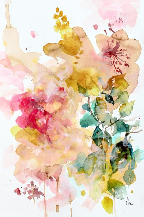 Floral nature watercolor giclee print yellow and pink