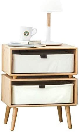 Bedside Table Wood Nightstand With 2 Drawer And Storage Bedroom Modern Tall Nightstands Bedside End In 2020 Wood Bedside Table Wood Nightstand Space Saving Furniture