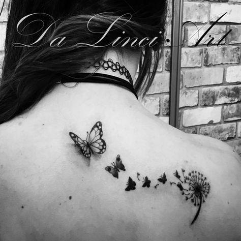 Dandelion Butterfly Tattoo Made by linda Roos - Da Linci Art, Zwijndrecht - The Netherlands www.