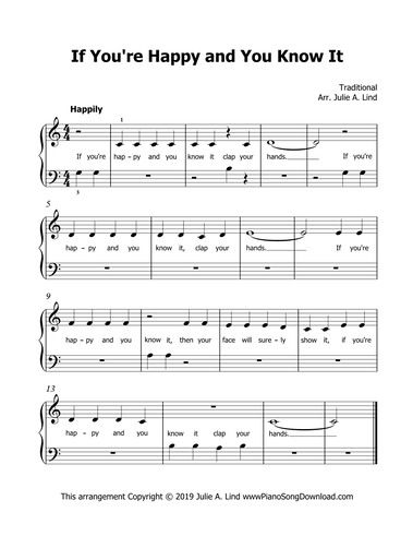 If You Re Happy And You Know It Piano Sheet Music For Beginners