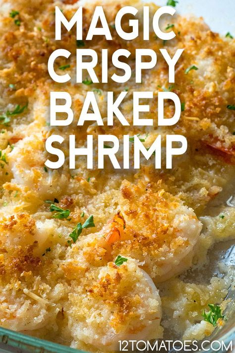 Magic Crispy Baked Shrimp - This is going on my menu list. Easy and very delicious. I cooked some penni noodles to put the Shrimp on. Shrimp Recipes For Dinner, Seafood Dinner, Fish Recipes, Seafood Recipes, New Recipes, Cooking Recipes, Baked Shrimp Recipes, Seafood Appetizers, Seafood Casserole Recipes