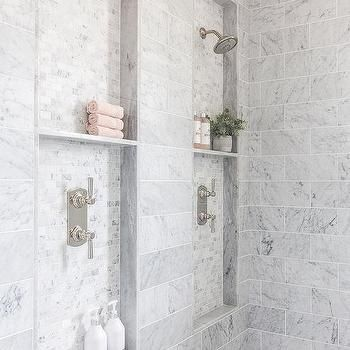 Side By Side Marble Tiled Shower Niches With Images Bathroom