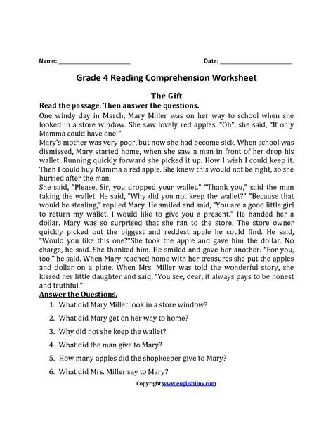 The Gift Fourth Grade Reading Worksheets Reading Comprehension Worksheets Reading Comprehension Teaching Reading Comprehension Comprehension worksheets for grade 6