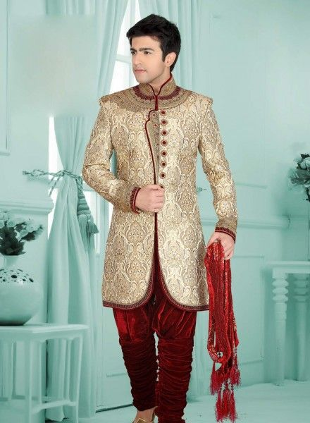 Designer Indowestern Cream Shervani AE0686