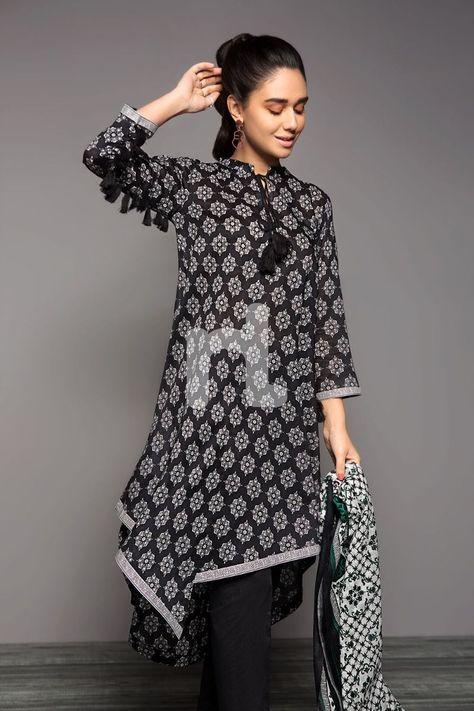 Get Black Printed Lawn Fabric Online - Nishat Linen Pakistan