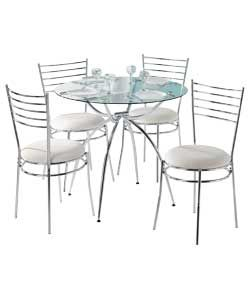 Eydon Clear Glass Dining Table And 4 Chairs