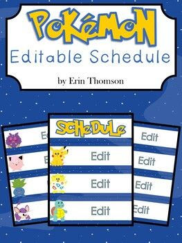 Pokemon Editable Schedule Special Education Classroom Classroom Themes Fun Learning