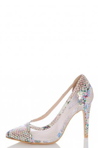 1a6a71c9700 Multicoloured Snake Print Mesh Court Heels in 2019 | Shoes | Court ...