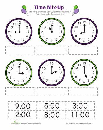 TELLING TIME CLOCK WORKSHEET - TO THE HOUR - TeachersPayTeachers - time worksheets