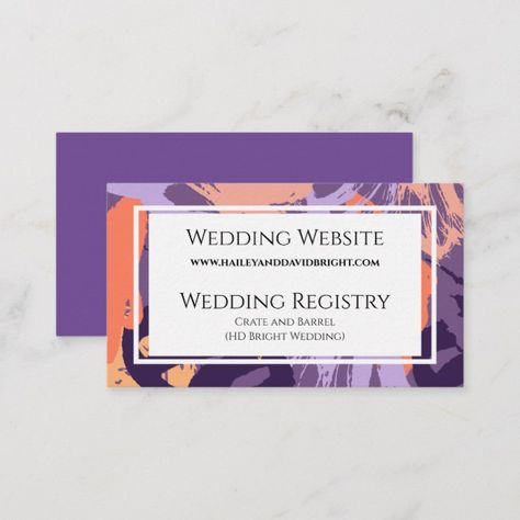 Purple and Coral Abstract Modern Wedding Website Enclosure Card