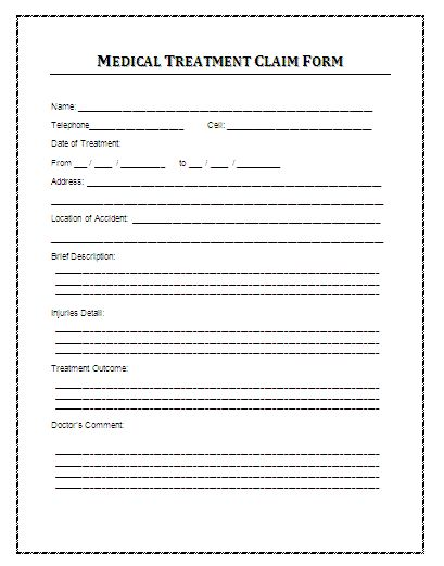Sample Medical Treatment Claim Form A medical treatment claim - medicare form
