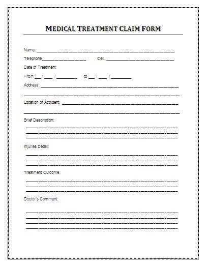 Sample Medical Treatment Claim Form A medical treatment claim - medical claim form