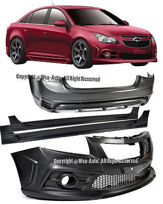 For 11 14 Chevy Cruze Sport Style F R Bumper Cover Side Skirt Full Body Kit Chevy Cruze Cruze Chevy