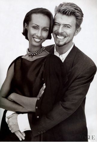 Iman and David Bowie, photographed by Norman Jean Roy for Vogue, June They look so Happy