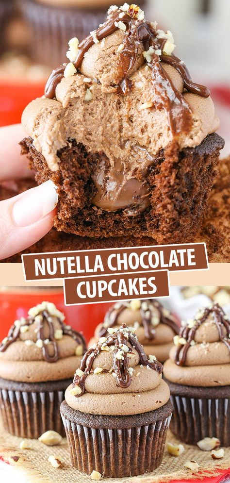 These Nutella Chocolate Cupcakes are made with soft moist chocolate cupcakes a Nutella center and Nutella frosting! Homemade Desserts, Easy Cake Recipes, Easy Desserts, Sweet Recipes, Baking Recipes, Dessert Recipes, Best Easy Cupcake Recipe, Easy Delicious Desserts, Gourmet Cupcake Recipes