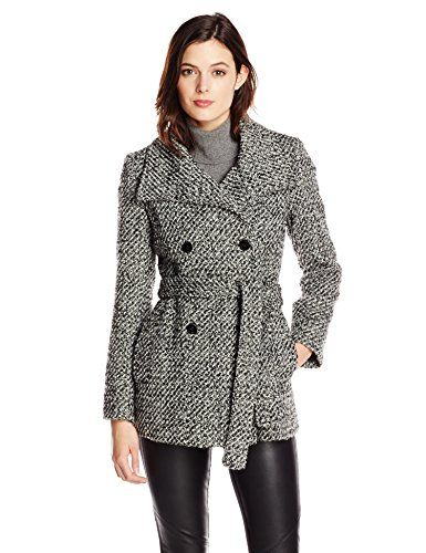 Calvin Klein Women's Double Breasted Tie Front Wool Coat, Black White, 10 $  103.60