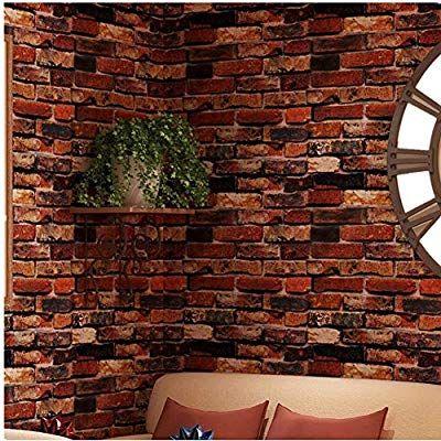 Amazon Com Yancorp Waterproof Self Adhesive Wallpaper Rust Red Brown Brick Pattern Peel Stick Wallpaper Red Brick Wallpaper 3d Brick Wallpaper Brick Wallpaper