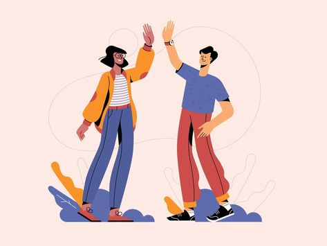 Two Folks High-Fiving