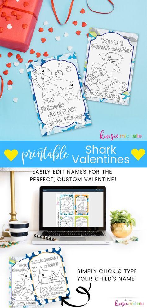 Printable Shark Valentine S Cards Set Of 8 Valentine S Cards