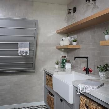 Industrial Style Laundry Room With Gray Tiles Laundry Room