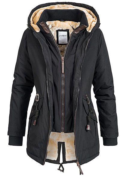 Seventyseven Damen Winter Jacke Kapuze Teddyfell 2in1 Optik