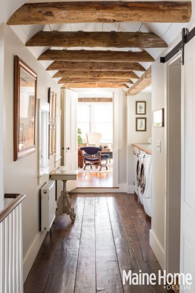 Wood Beams in a Hallway Bathroom {New England Farmhouse Maine Home ...