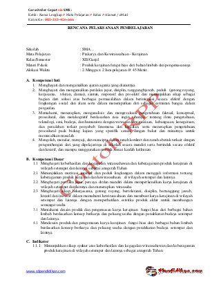 Rpp Prakarya Dan Kewirausahaan Kerajinan Kurikulum 2013 Kelas Xii Sem Person Semester