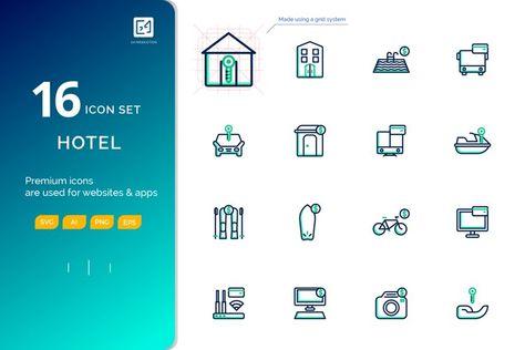 Icon set RENTAL outline fill color style (127871)   Icons   Design Bundles