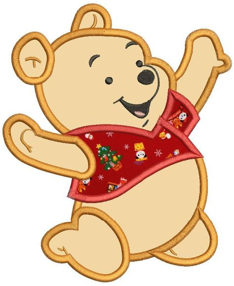 Baby Winnie The Pooh Applique Machine Embroidery Design 3 Sizes