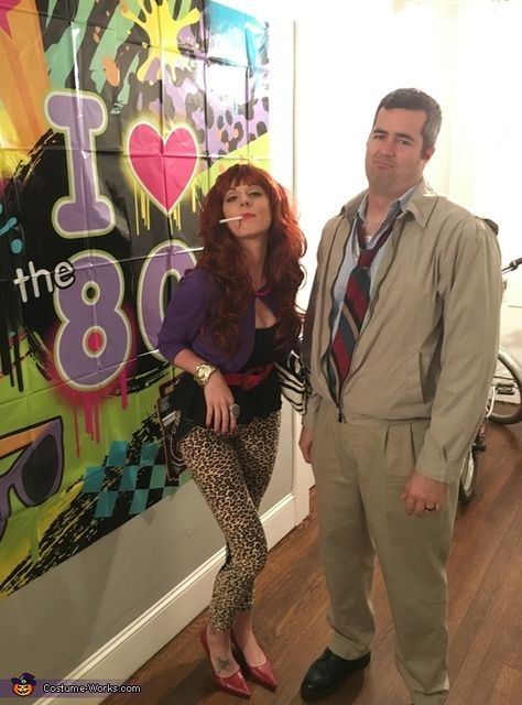 My husband and I were invited to an themed costume party. We decided to be Peggy and Al Bundy. We got our costume supplies at Goodwill, Dollar Mania, and our own closets. I purchased the wig from Spirit Halloween store and my husband wore.
