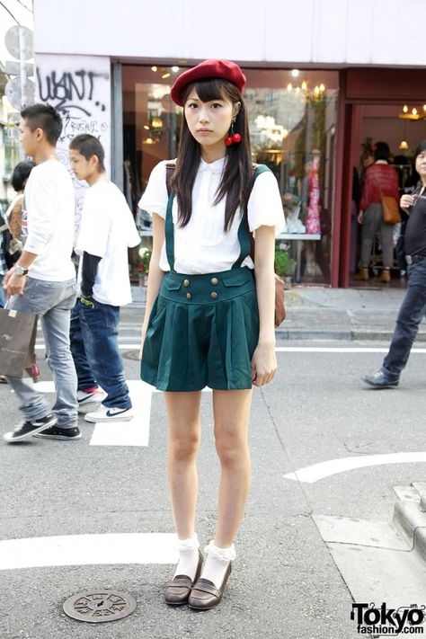 Red beret, Pleated Suspender Shorts, High Heel Loafers & Cherry Earrings <-- <3