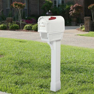 Mailbox Post Kit All In One Durable Weather Resistant White With Newspaper Port Ebay In 2020 Weather Resistant Mailbox Post Mailbox