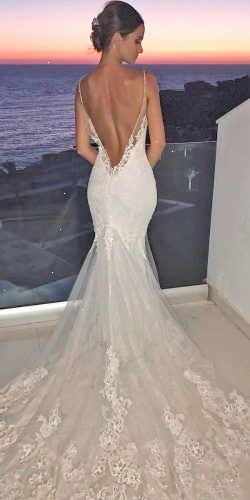 Mermaid Wedding Dresses Lace Low Back Spaghetti Straps With Train