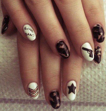 U.S Army nail art! Hand painted nail art. Painted with Nail polish and  acrylic paint by Melgin Wright http://www.facebook.com/TheWrightWayToPolish… - U.S Army Nail Art! Hand Painted Nail Art. Painted With Nail Polish