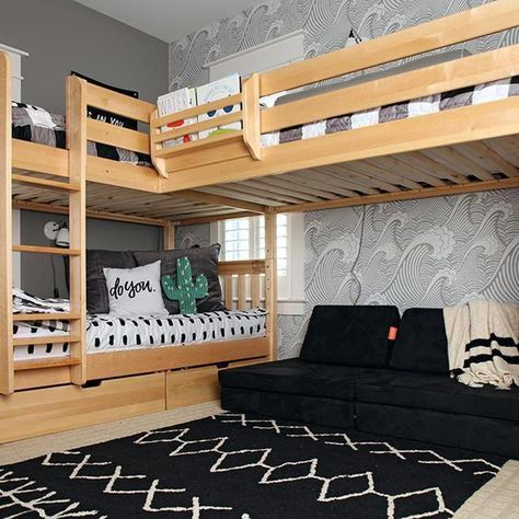 Twin Medium Corner Loft Bunk Bed - - Quality Kids Beds + Kids Bedroom Sets: Bunk Beds, Lofts and Storage. Fun, safe furniture toddlers, children + teens use and love. Hardwood Beauty and Durability. Corner Bunk Beds, Bunk Beds Boys, Bunk Bed Rooms, Kid Beds, Kids Beds For Boys, Toddler Bunk Beds, Cool Kids Rooms, Raised Beds Bedroom, Kid Loft Beds