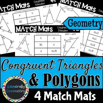 About This Resource Match Mats Can Be Used Individually In Pairs Or In Groups Each Student Pair Or Group Playing Will Re Polygon Activities Geometry Polygon Congruent triangles worksheet with answer