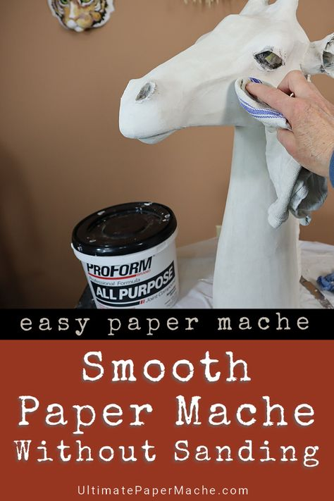 This method for smoothing paper mache clay (no sanding!) works with paper strips… This method for smoothing paper mache clay (no sanding!) works with paper. Paper Mache Paste, Paper Mache Clay, Paper Mache Sculpture, Paper Sculptures, Paper Mache Projects, Paper Mache Crafts, Clay Crafts, Sculpture Projects, Sculpture Ideas